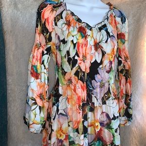 Spence floral bell sleeve boho style blouse